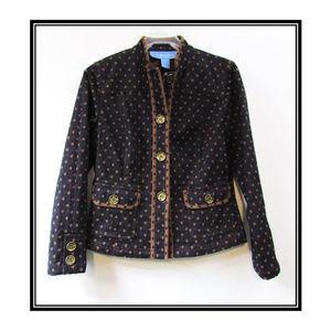 Polka Dot Navy and Brown 3 Button Denim Jacket